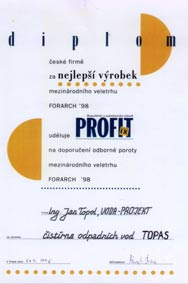 Best product at the For Arch Prague 98 exhibition for the magazine, Profit