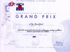 Grand Prix at the exhibition For Arch Prague 2001