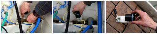 Take down the hose from the float nozzle carefully and remove the whole float from the hanger on the WWTP wall